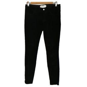 H & M Suede Leather Black Skinny Pants